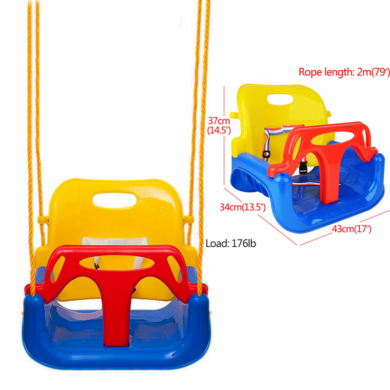 3 In 1 Infant Kid Toddler Secure Detachable Swing Set Patio Garden Outdoor Play